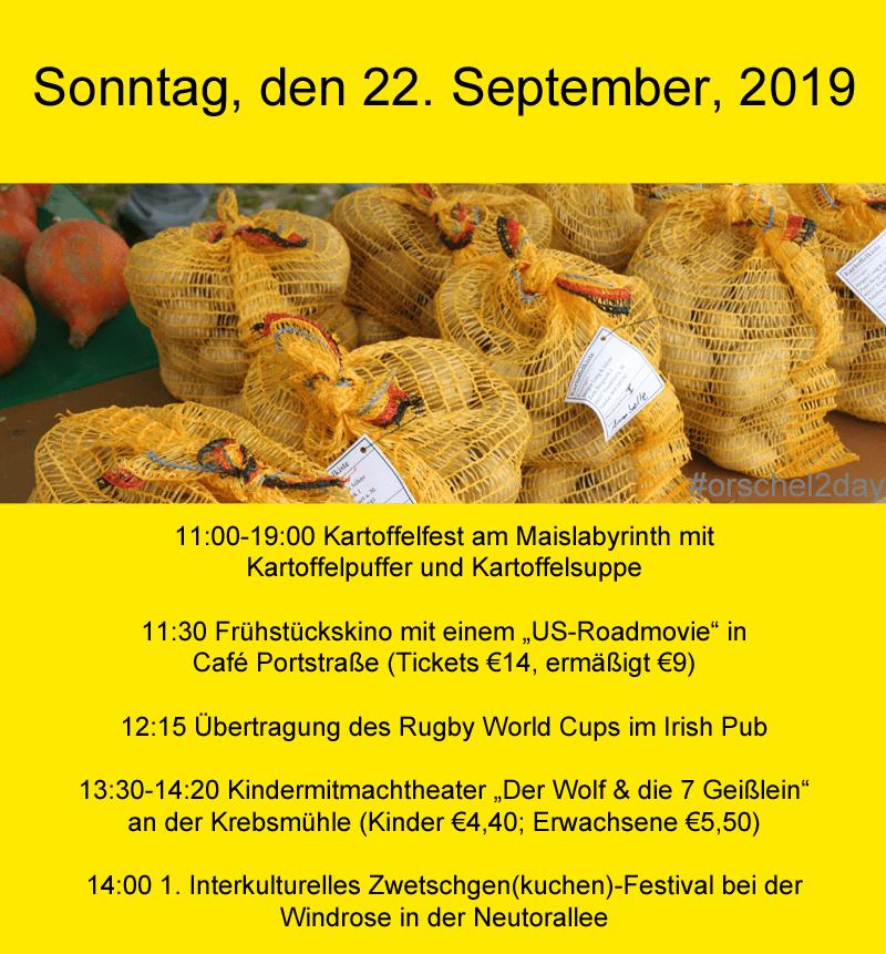 Sonntag, den 22. September, 2019