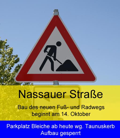 Nassauer Straße Fuß- und Radweg - Bleiche gesperrt