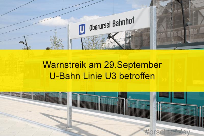 Warnstreik betrifft U-Bahn U3
