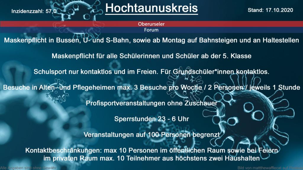 Die Inzidenzzahl für den Hochtaunuskreis steht heute bei 57,0 (Quelle: RKI)