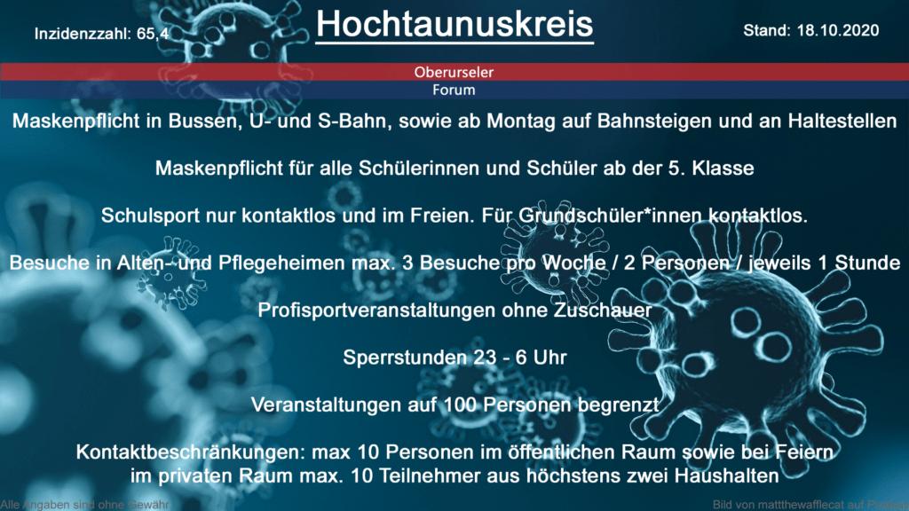 Die Inzidenzzahl für den Hochtaunuskreis steht heute bei 65,4 (Quelle: RKI)