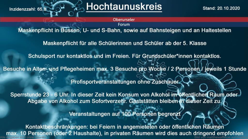 Die Inzidenzzahl für den Hochtaunuskreis steht heute bei 65,8 (Quelle: RKI)