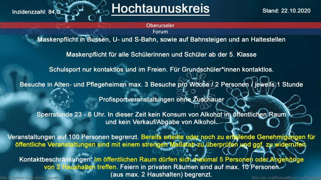 Die Inzidenzzahl für den Hochtaunuskreis steht heute bei 84,0 (Quelle: RKI)