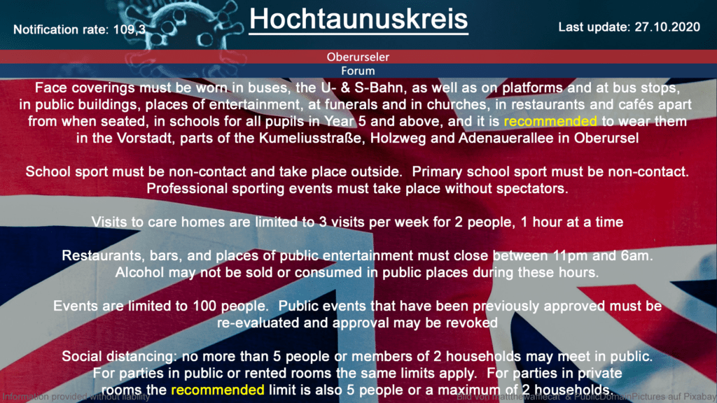 The notification rate in Hochtaunuskreis is currently at 109,3 (Source: RKI)