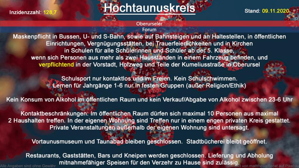 Die Inzidenzzahl für den Hochtaunuskreis steht heute bei 128,7 (Quelle: RKI)