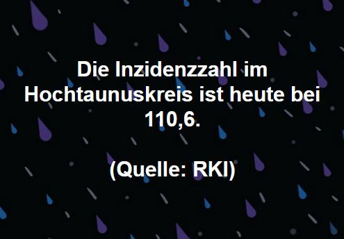 Die Inzidenzzahl im Hochtaunuskreis ist heute bei 110,6. (Quelle: RKI)