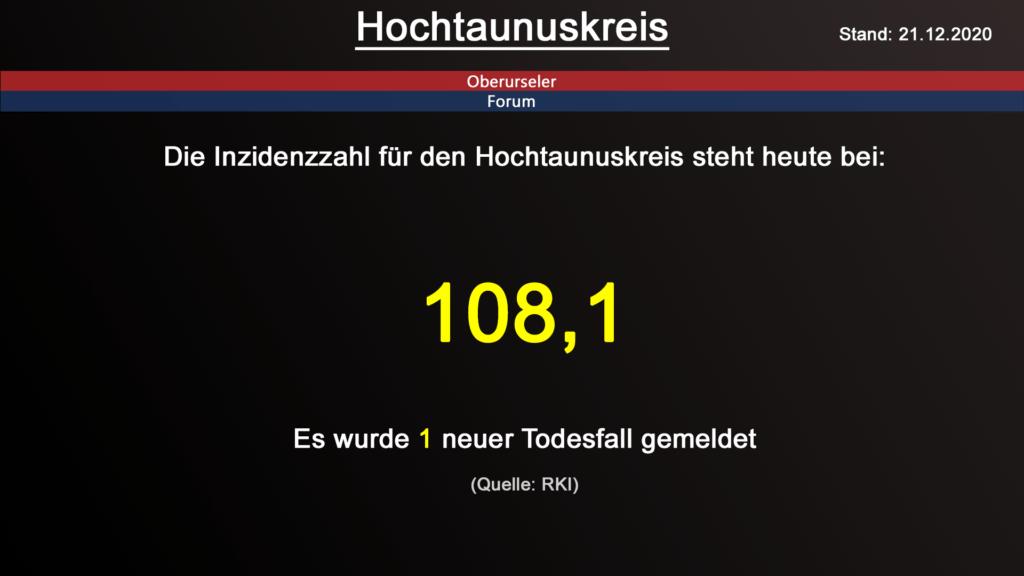 Die Inzidenzzahl für den Hochtaunuskreis steht heute bei 108,1. Gestern wurde 1 neuer Todesfall gemeldet. (Quelle: RKI)