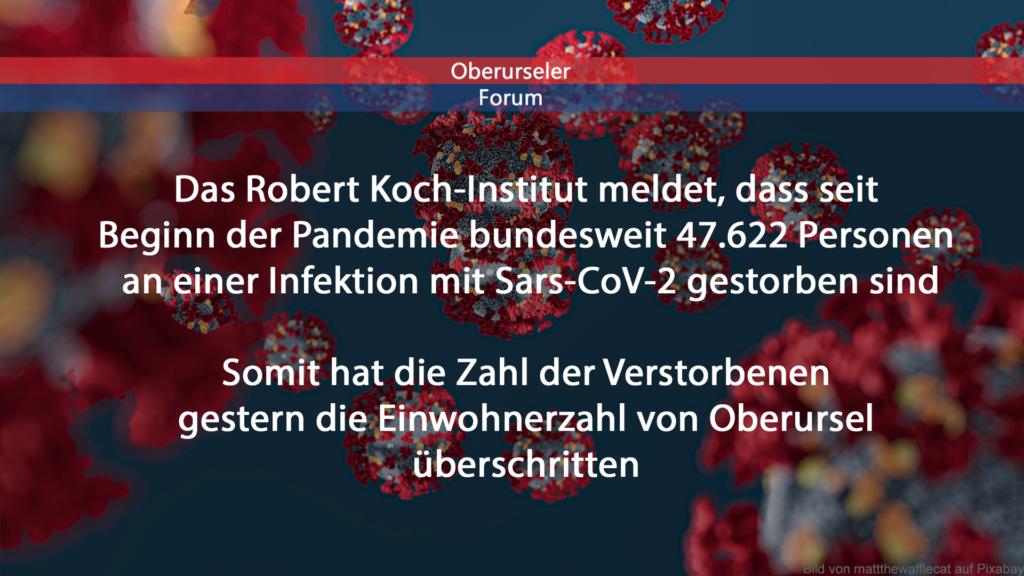 Das Robert Koch-Institut meldet, dass seit Beginn der Pandemie bundesweit 47.622 Personen an einer Infektion mit Sars-CoV-2 gestorben sind. Somit hat die Zahl der Verstorbenen gestern die Einwohnerzahl von Oberursel überschritten.