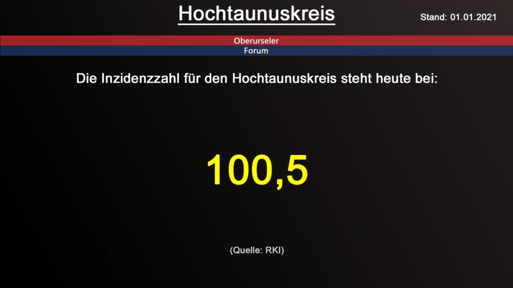 Die Inzidenzzahl für den Hochtaunuskreis steht heute bei 100,5. (Quelle: RKI)
