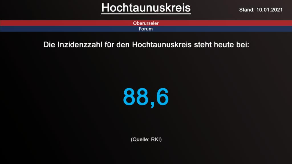 Die Inzidenzzahl für den Hochtaunuskreis steht heute bei 88,6. (Quelle: RKI)