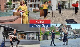 #kulturuffdergass in Oberursel mit Angela Behrs (oben links), Heike Knäbel Querflötten Trio, Ian Hrubik Gitarre & Abba Show Anjuschka Uher (unten rechts, l.) und Sabrina Klüber (unten rechts, r.) am 29. Mai 2021 in Oberursel