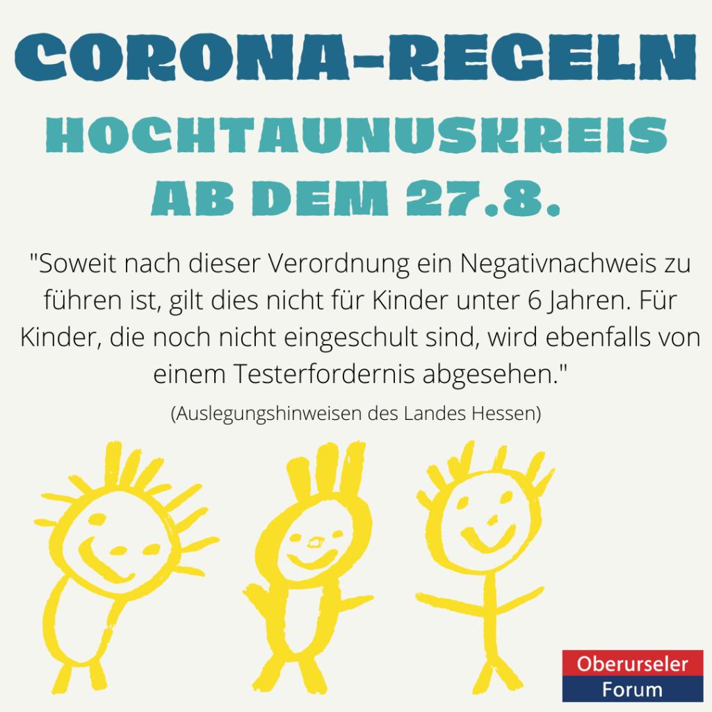 Corona Regeln ab dem 27.8. im Hochtaunuskreis